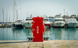 Red safety hydrant station, Cyprus, Limassol marina Stock Photo
