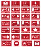 Vector emergency exit signs set on red background. Red safety sign. Vector emergency exit signs set on red background Stock Photos