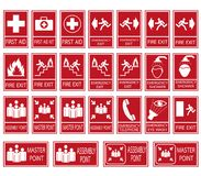 Vector emergency exit signs set on red background. Red safety sign. Vector emergency exit signs set on red background Stock Photo