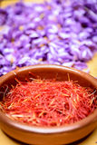Red saffron strands ready to be toasted Royalty Free Stock Photography