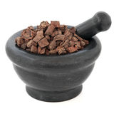 Red Sage Root. Chinese herbal medicine in a black stone mortar with pestle over white background. Dan shen. Salvia Royalty Free Stock Image