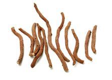 Red Sage Root. Salvia miltiorrhiza Bge on white background stock images