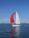 Red sail. Boat with a red sail Stock Photos