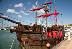 Red sail. Old Style ship with red sail Royalty Free Stock Photos