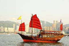 Red sail boat Royalty Free Stock Photos