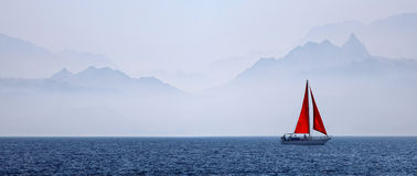 Red sail in the Red sea Royalty Free Stock Images
