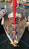 Red sail yacht. Smiling boat royalty free stock photos