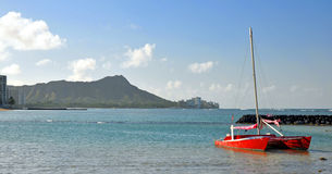 Red Sailboat Stock Photography