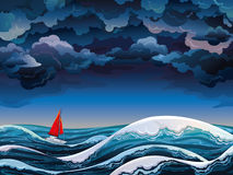 Red sailboat and stormy sky. Night seascape with red sailboat and stormy sky