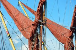 Red sails and mast. On thames yacht royalty free stock photos