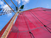 Red Sails and Rigging Stock Photography