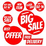 Red Sale Badge. With best offer, free delivery, big sale, 50% off stock illustration