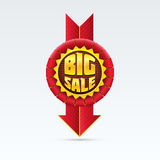 Red Sale Badge With Shadow on White Background. Stock Photography