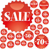Red sale badges Royalty Free Stock Photos
