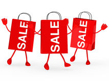 Red sale bags wave. Three red sale bags wave and jump Royalty Free Stock Photos