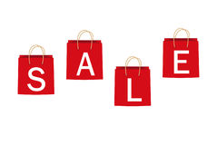Red sale bags. Royalty Free Stock Photos