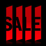 Red sale banner. With black background Stock Photography