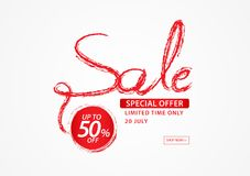 Red sale banner template, ribbons flat isolated, Labels, Stickers, Tags, Discount. Icon, header, vector illustration for business Stock Image