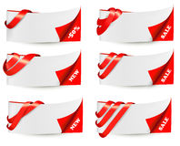 Red sale banners with red ribbons. Stock Images