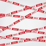 Red sale bent tape ribbon. Background. Banner for discount, store sale, advertising, idea. Attention sign, information symbol. Decoration communication business royalty free illustration
