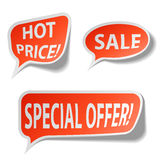 Red sale bubble tags Royalty Free Stock Image