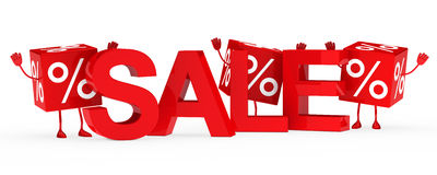 Red sale cubes wave Stock Photo