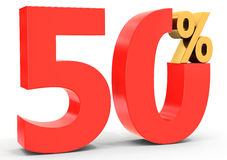 Red sale discount 50 percent. On white background 3D illustration Stock Photos