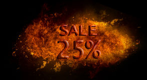 Red Sale 25%  on fire flame explosion, black background Stock Photography