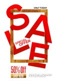 Red Sale with golden frame Royalty Free Stock Photo