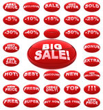 Red sale icons Royalty Free Stock Images