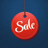 Red sale on jeans Royalty Free Stock Photo