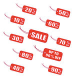 Red sale labels. Vector illustration stock illustration