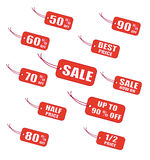 Red sale labels Royalty Free Stock Photography