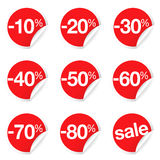 Red Sale Labels Discount And Promotion. Vector set of red circular sale labels with percent discount and promotion for marketing, advertising, online store and e Stock Photo