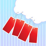 Red sale labels hanging on cloud. Stock Images