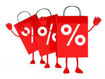 Red sale percent bags wave. Red sale percent bags stand and wave Stock Photography