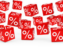 Red sale percent cubes Stock Photo