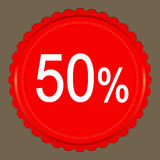 Red  Sale 50 percent, Label. Red Sale 50 percent, Label on grey background Stock Images