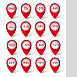 Red Sale Pointer White Background. Red markers with sale icons on the white background. German text Verkaufsoffener Sonntag, Sonderangebot, WSV, SSV, translate Stock Photography