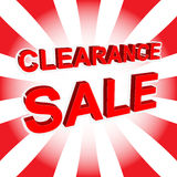 Red sale poster with CLEARANCE SALE text. Advertising banner Royalty Free Stock Images