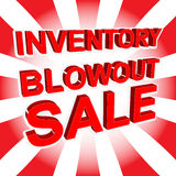 Red sale poster with INVENTORY BLOWOUT SALE text. Advertising banner Royalty Free Stock Image