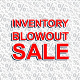 Red sale poster with INVENTORY BLOWOUT SALE text. Advertising banner Royalty Free Stock Photo