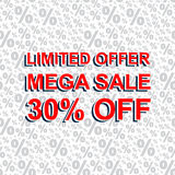 Red sale poster with LIMITED OFFER MEGA SALE 30 PERCENT OFF text. Advertising banner. Red sale poster with LIMITED OFFER MEGA SALE 30 PERCENT OFF text. Bright Stock Images