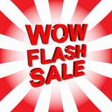 Red sale poster with WOW FLASH SALE text. Advertising banner Royalty Free Stock Image