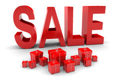 Red Sale and presents Stock Photos