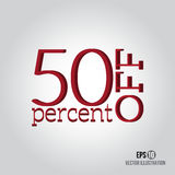 Red 50% sale. Price off icon with 50 percent discount Royalty Free Stock Photo