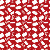 Red sale seamless background with shopping bags Stock Photography