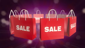 Red SALE Shopping Bag on twinkle background