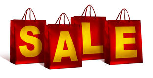 Red sale shopping bags Stock Photography