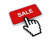 Red sale sign button. Hand icon pushing a 3D red sale sign button on a white background illustration Stock Images